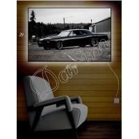 Картина с подсветкой «Черная машина»