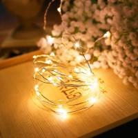 Гирлянда Роса (Белый теплый) 100 LED  на батарейках