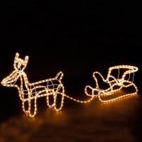 Новогодний светодиодный олень с санками
