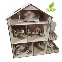 Кукольный домик с мансардой + мебель