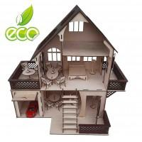 Кукольный домик с мансардой и гаражом + мебель